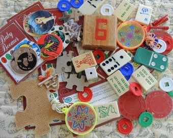 Junk Drawer Game Pieces - Tiles, Bocks, Chips, Games. Puzzle Pieces