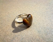 Golden Tiger Eye Gemstone Adjustable Ring, Heart Cabochon on Silver Tone Metal Base, Tiger Eye Cabochon, Confidence Stone, Prosperity Stone
