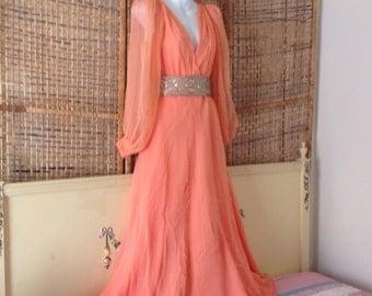 Vintage 60's Peach Silk Chiffon Flowing Goddess Evening Dress Beaded Belt Sz 8-10