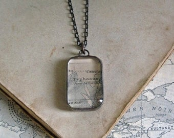 Vintage Maritime Map Soldered Glass Long Necklace One of a Kind Jewelry