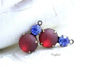Vintage Glass Dangles Round Set Stones 1 Ring Antique Brass Prong Settings 15x9mm Sapphire & Frosted Siam - 2