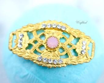Crystal & Rose Water Opal 24K Gold Plated Curved Filigree Bracelet Bar with Swarovski Crystal - 1