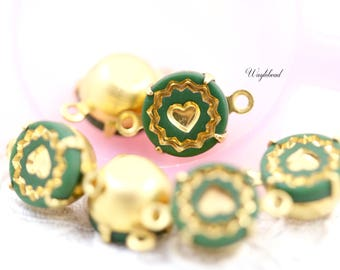 Vintage Round Glass Set Stones Connector Drop Dangle Gold & Green 9mm - 4