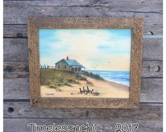 Oil Painting - Vintage Painting - Vintage Oil Painting - Landscape Oil Painting - Beach Oil Painting - Ocean Painting - Beach Decor
