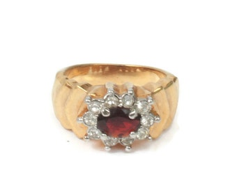 Simulated Garnet Ring Clear Crystals Stepped Shoulders Size 7 / O