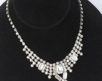 Clear Rhinestone Necklace Wedding Prom Pageant Chatons Baguettes Princess Style Vintage