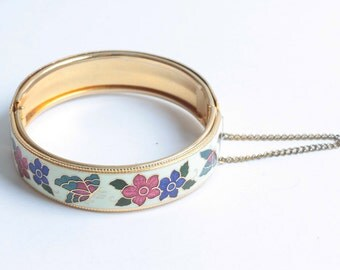 Butterflies and Flowers Enameled Bangle Bracelet Vintage