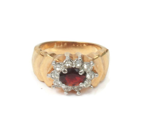 Simulated Garnet Ring Clear Crystals Stepped Shoulders Size 7 US