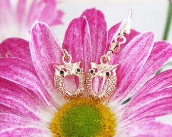 Rose Gold Owl Earrings