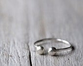 Sterling silver ring, open stackable ring with two 4mm balls - MADE TO ORDER