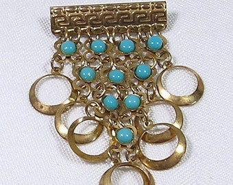 20% Sale Jewelry Art Deco Brooch Gold Rings Turquoise Blue Beads Dangle Drop Vintage