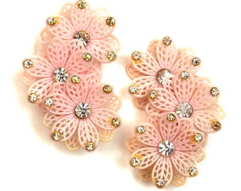 1960s Large Pink with White Rhinestone Plastic Rubber Dimensional Flower Floral Vintage Costume Jewelry Ear Climbing Clip On Earrings