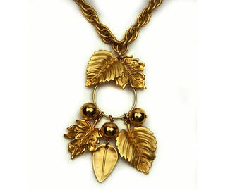 1980s Napier Brushed Gold Plated Leaves Leaf Berry Berries Charm Charm Holder Vintage Pendant Necklace