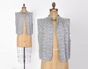 Vintaged 70s Silk VEST / 1970s Pastel Floral Berries Print Loose Fit Silk Layering Piece