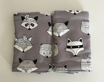 Fox and Hound and Fox on Grey Reversible Baby Carrier Drool Pads - Baby Carrier Drool Pads - Fits most Carriers - Ready to Ship