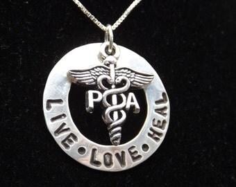 PA Live Love Heal necklace, PA graduation gift, Physician Assistant necklace, Physician Assistant graduation gift, PA jewelry