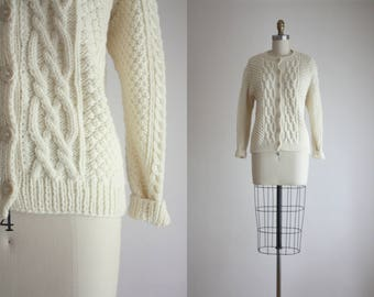 ivory wool fisherman cardigan