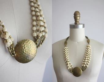 1970s hammered brass necklace