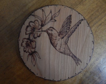 Wood Burnt Image of a Hummingbird Basket Bottom or Other Craft Projects