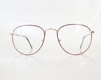 ON SALE Men's Round Glasses Italy 1980s Metallic Tortoiseshell Light Amber Rose 80s Eighties Guys Geek Chic Nerdy Indie Hipster Wire Rim Ita