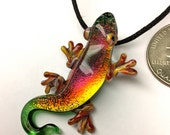 Iridescent Ruby Dichroic Glass Gecko Lizard Pyrex Necklace Pendant...