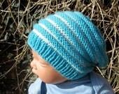 HALF PRICE SALE Digital pdf download knitting patten -Baby Stripe Slouch  Hat pdf knitting pattern