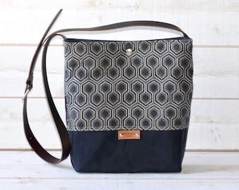 Waxed canvas bag ,cross body bag, waxed canvas day bag, leather strap shoulder bag,gray geometric,metal closure