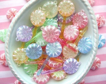 Glittered Pastel Lollipop Embellishments - 1 3/4 inch - Set of 4