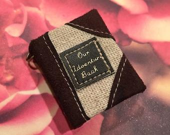 Our Adventure MINI Blank Paper BOOK Pendant-Miniature book-Mini Book-Canvas Mini Book-Dollhouse Book-Mini Journal-Keychain Charm