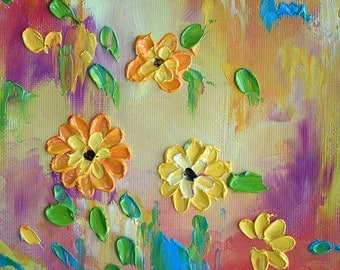 Original Impasto Painting Yellow Pink Daisies Floral Textured Oil Painting on Paper 6x6""