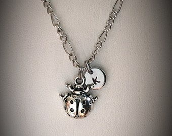 Personalized Lady Bug necklace * Beetle necklace * charm necklace * lady bug charm necklace * Initial necklace * monogram necklace