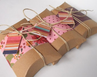 Gift Wrap, Decorated Pillow Boxes, Pink, Girl, Wood Grain, with String and Tags - set of 6