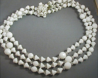 White Milk Glass Triple Strand Beaded Necklace