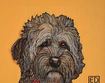 227 Crumpet - Portuguese Waterdog – folded art card 15x15cm/6x6inch with envelope