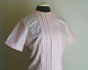 Vintage 50's Pink Short Sleeve Pleated Front Cropped Blouse