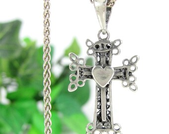 "Vintage STERLING CROSS HEART Pendant Lacy Pierced Necklace 24"" Rope Chain Silver"