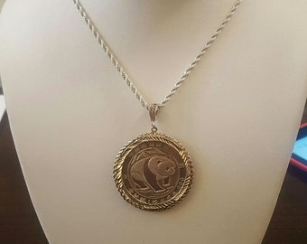 1993 Silver Panda Coin Pendant with 24 Inch Sterling Silver Rope Chain Necklace