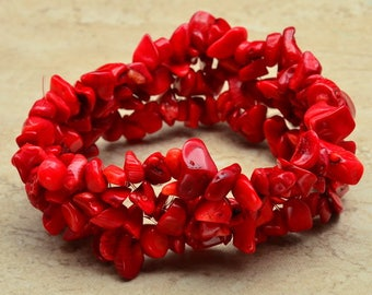 "Handcrafted Red Coral Stretchy Bracelet 6"" Wearable Length"
