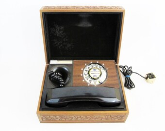 Vintage Executive Rotary Box Telephone in Engraved Wood by Deco-Tel. Circa 1970's.