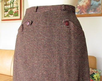 Beautiful 1940s 1950s High Waisted Tweed pattern wool belted pencil skirt in red, yellow, black and grey.