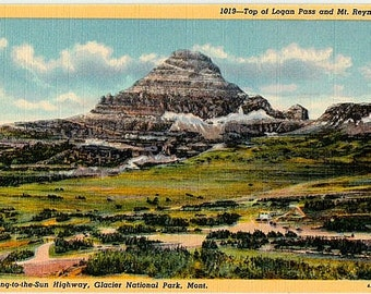Vintage Montana Postcard - Reynolds Mountain from Logan Pass, Glacier National Park (Unused)