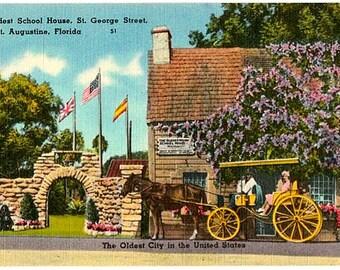 Vintage Florida Postcard - The Oldest School House, St. Augustine (Unused)