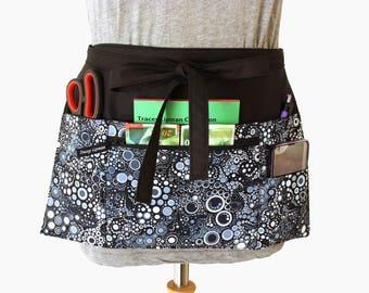 Vendor apron - Teacher Apron - Waitress apron - half apron - zipper pocket - utility apron - waist apron - money apron - server apron