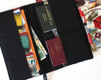 Family passport holder family travel wallet world map family passport holder family travel wallet fabric passport wallet travel document holder gumiabroncs Image collections
