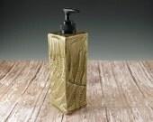 Soap Dispenser - Ceramic Bath Soap Dispenser - Pottery Dish Soap Dispenser - Hand Soap Pump - Home Decor - Ferns - Rustic Kitchen Decor