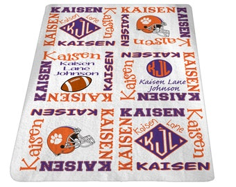 Personalized Football Baby Blanket Custom Baby Blanket Baby Name Blanket Clemson Baby Boy or Girl 30x40 inches