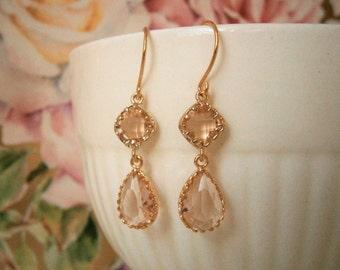 Blush Champagne Earrings, Gold Earrings,  Bridal Jewelry, Bridesmaid Earrings, Best Friend Birthday