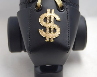 Leather Toe Guards with Gold Metallic Dollar Signs