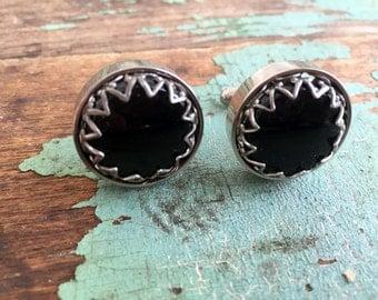 Vintage Chunky Prong Set Black Glass Cuff Links