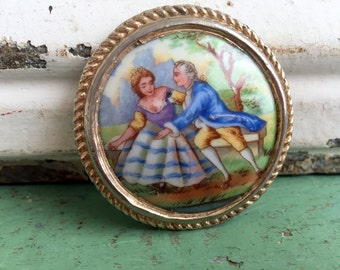 Vintage Signed Limoges France Couple Porcelain brooch Pin